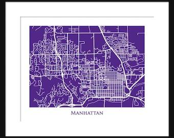 Map Of Manhattan Kansas.Manhattan Kansas Map Etsy
