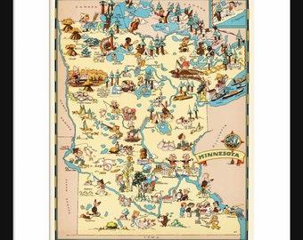Minnesota Map - Map of Minnesota - Vintage Map - Print - Poster - Wall Art - Home Decor