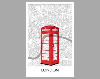 London Map - City Map- Grid Map - Poster- Print