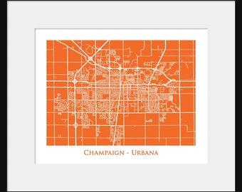 Champaign Urbana Map - Map of Champaign Urbana - University of Illinois - Print - Poster - Illini