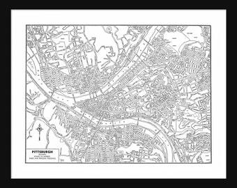 Pittsburg Vintage Map - Pittsburg - White - Print - Poster