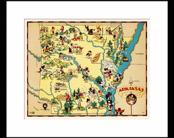 Arkansas Map - Map of Arkansas - Vintage Map - Print - Poster - Wall Art - Home Decor