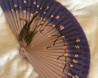 Hand-painted fans and case 9 inches cherry blossom