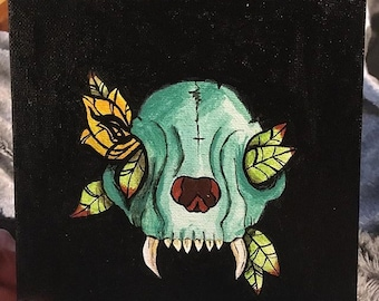 Cute mini painting teal skull with flowers