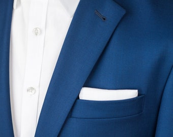 White pocket square, Men's cotton wedding, Black tie event handkerchief