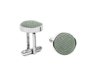 Sage green cufflinks for groom and groomsmen, gift idea for men, wedding cufflinks