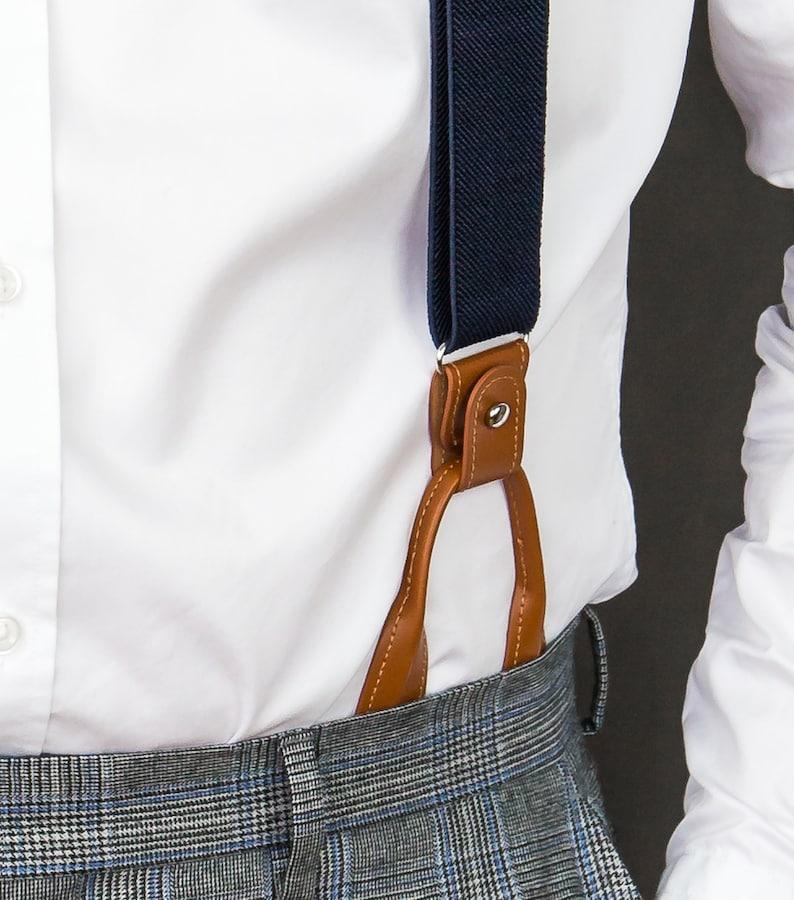 Wedding suspenders for groom groomsmen loop suspenders Navy blue suspenders for men clip suspenders Brown button suspenders