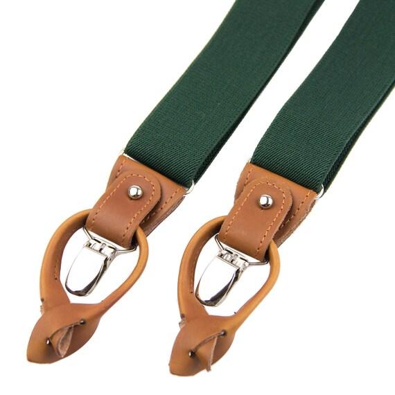 Top-Mode farblich passend Entdecken Sie die neuesten Trends Grüne Hosenträger für Männer, Leder-Taste Tab und Clip Hosenträger,  Bräutigam Trauzeugen Hosenträger, elastische Knopf endet jägergrün  Hosenträger