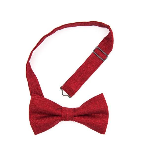 Ruby red wedding bow tie for men, cotton self-tie or pre-tied bow ties, groomsmen bow ties