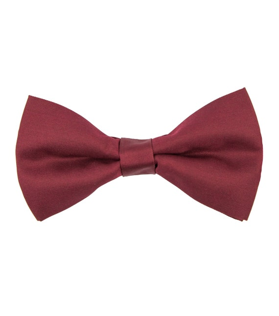 New in box men/'s pre-tied bowtie 100/% silk Burgundy solid formal wedding prom
