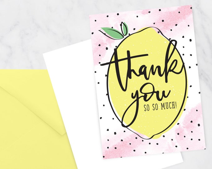 Lemon Thank You Card- Printable DIY