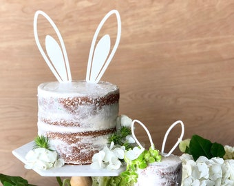 Bunny Ears Cake Topper - Somebunny Topper- Acrylic or Wood
