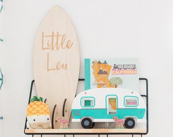 Mini Wood Surfboard Sign - Personalized Surfboard- Baby Surfboard