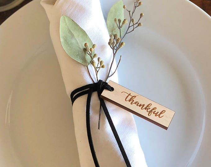 Thankful Tags- Thanksgiving Napkin Ring- One Dozen Engraved Wood