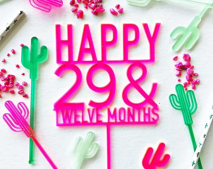 Twenty Nine And Twelve Months Cake Topper