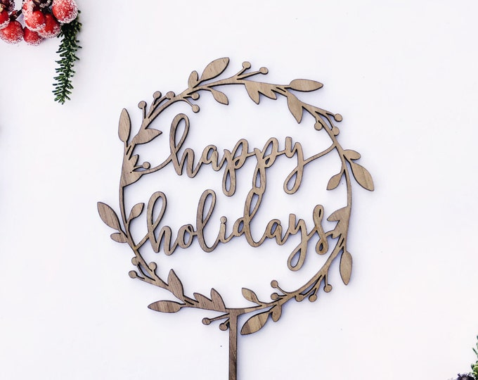 Happy Holidays Wreath Cake Topper