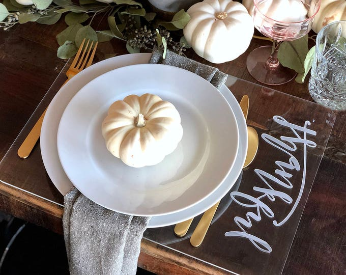 Thankful Placemat Set of 6- Thanksgiving Placemat- Engraved Acrylic Placemat