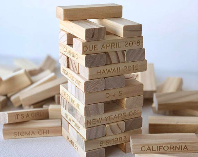 5th Anniversary Wood Gift- Personalized Tumbling Tower Set - Custom Stacking Game