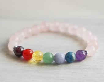 7 Chakra Rose Quartz Bracelet - Healing Bracelet - Gemstone Bracelet - Chakra Bracelet - Wrist Mala - Mala Bracelet - Chakra Jewelry