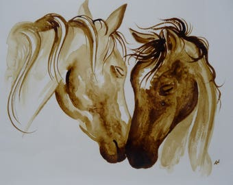 Horses || Horse gift, Horse lovers, Western art, Country style, Gifts for Mom, Mom and baby, coffee painting, Coffee art, original art