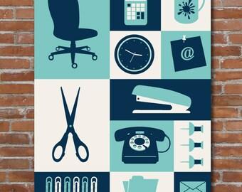 Genial Office Art Print, Desk Art Home Decor, Retro Wall Art