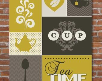 Tea Kitchen Art Print, Colorful Kitchen Decor, Tea Lover, Kitchen Wall Art, Modern Kitchen Art