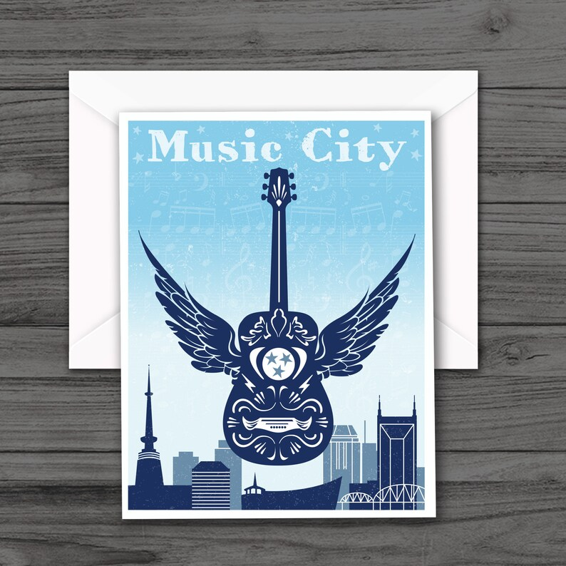 Music City Guitar Blank Note Cards Nashville Skyline Note Cards All Occasion Blank Greeting Cards