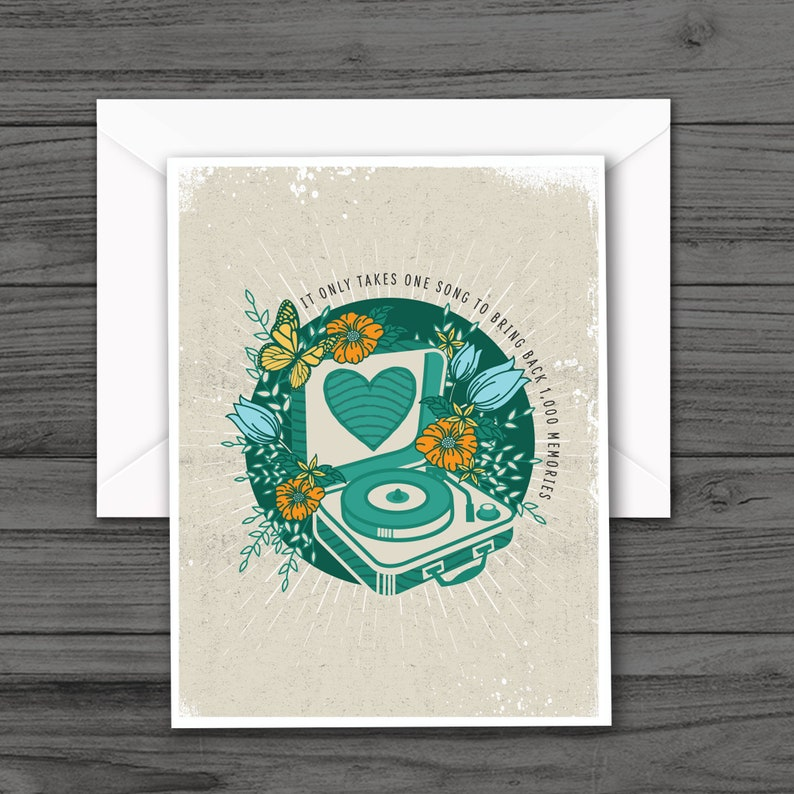 Record Player with Flowers Note Cards All Occasion Blank Greeting Cards Inspirational Quote Blank Note Cards
