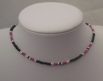 The March of Gentlemen Choker Necklace Bracelet and Earrings with Silver Men and Black Seed Beads