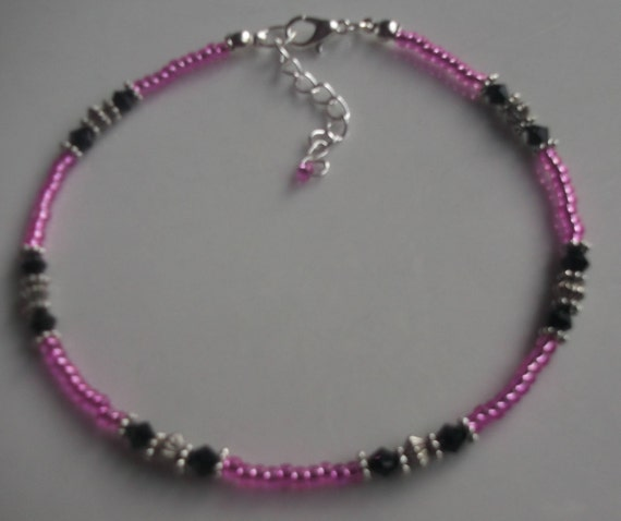 Holiday Boho Pink and Turquoise Glass and Silver Seed Beaded Anklet Beach