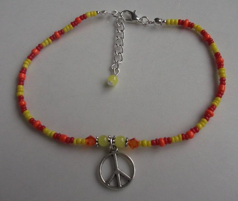 stretch anklet seed bead anklet ankle bracelet Peace symbol anklet beach jewellery beach anklet boho anklet glass beaded anklet
