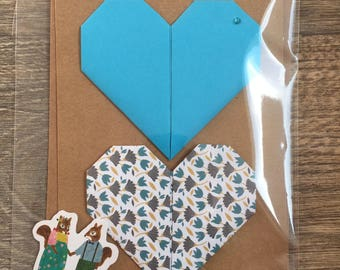 Origami heart with envelope and sticker love marriage pacs Valentine greeting card