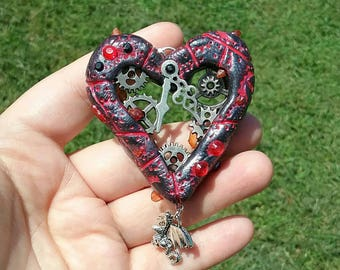 Dragons Heart - Black&Red Clockwork heart-Steampunk Jewelry