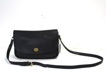 9a6c91eca2 Authentic Vintage Designer Coach Black Leather Crossbody Bean Bag with  Brass Hardware & Hang Tag