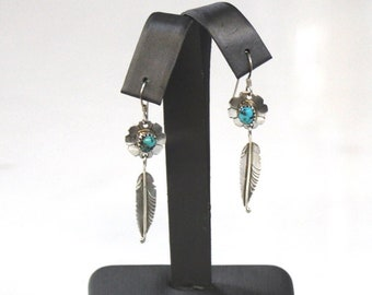 000752628 Vintage 925 Sterling Silver Dangle/Drop Concho Earrings with Turquoise  Cabochons and Feathers