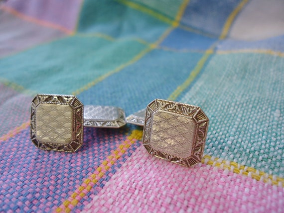 Ornate Antique Victorian Art Deco 10K White and Y… - image 1