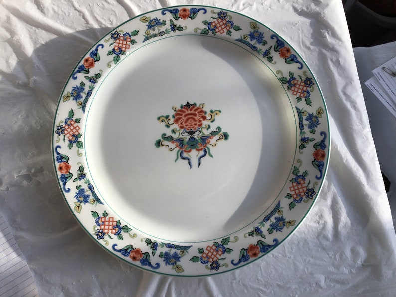 and Lattice Pattern Co Syracuse China Flowers 12.5\u201dDiameter Round Platter Butterflies From O.P Fusan Copyrighted 1919