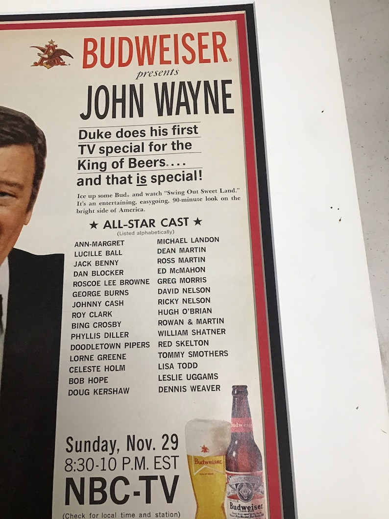 John Wayne Budweiser beer advertisement