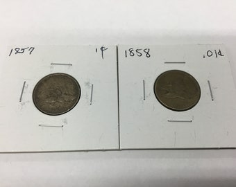 1857 and 1858 flying eagles pennies