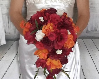 Fall Wedding Bouquet Red And Orange Autumn Colors Bouquet Etsy