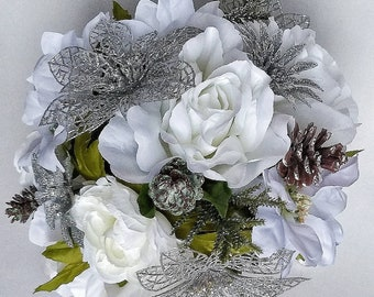 White silver bouquet etsy white silver wedding bouquet winter wedding white poinsettia bouquet silver wedding christmas wedding flowers ready to ship mightylinksfo
