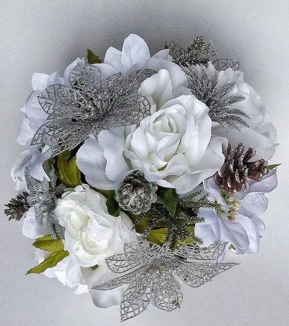 White Silver Wedding Bouquet Winter Wedding White Poinsettia Etsy