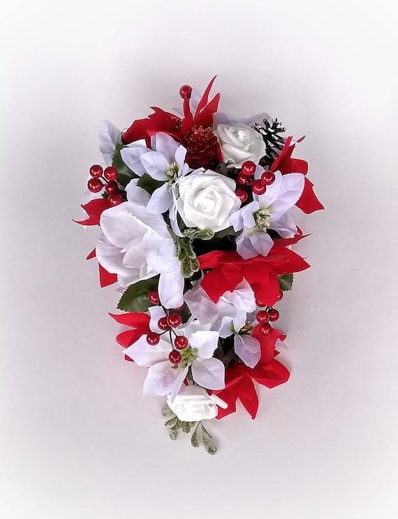 Cascade Bridal Bouquet Gold Sparkle Accents Red Poinsettias Silk Wedding Flowers Artificial Roses Calla Lily Christmas Wedding Bouquet