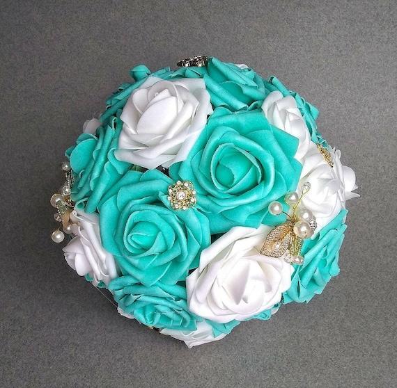 Quinceanera bouquet robin\'s egg blue bouquet aqua gold | Etsy