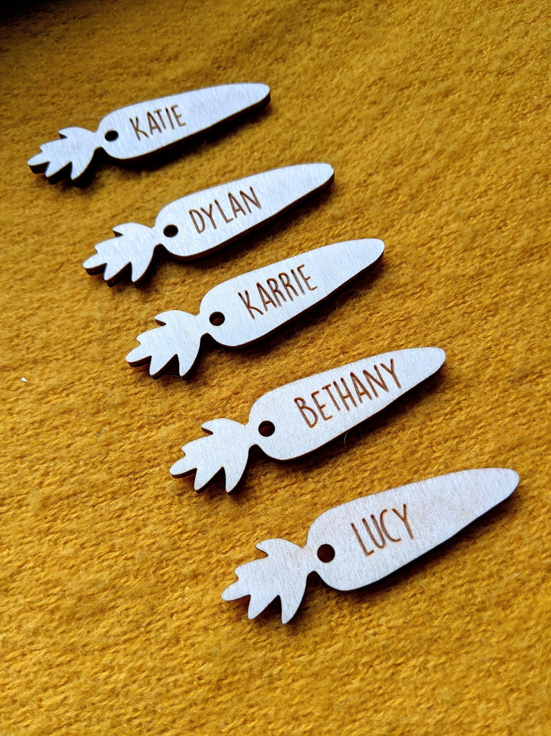 Personalised Wooden Easter Tags / Wooden Carrot Labels / image 0