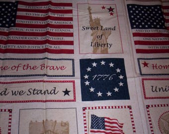 1 panel USA Constitution by Timeless Treasures teadyed red white blue flag