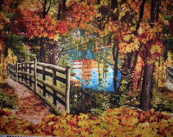 "1 Panel cotton fabric 23"" x 44"" Nature Timeless Treasures Fall Scene trees fence reflection on pond Gold rust yellow blue"