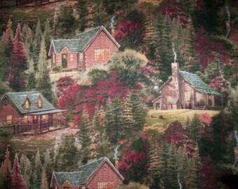 "30"" x 44"" cotton fabric Autumn Cabins by Thomas Kinkade for David Textiles log cabin scenic allover"