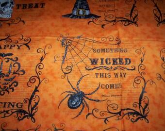 1 panel Eerilly Elegant by Deb Strain for Moda Fabrics crow witch hat skeleton spider and web Trick or Treat orange black
