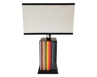 "Inlaid wood table lamp ""Stripes Design"""